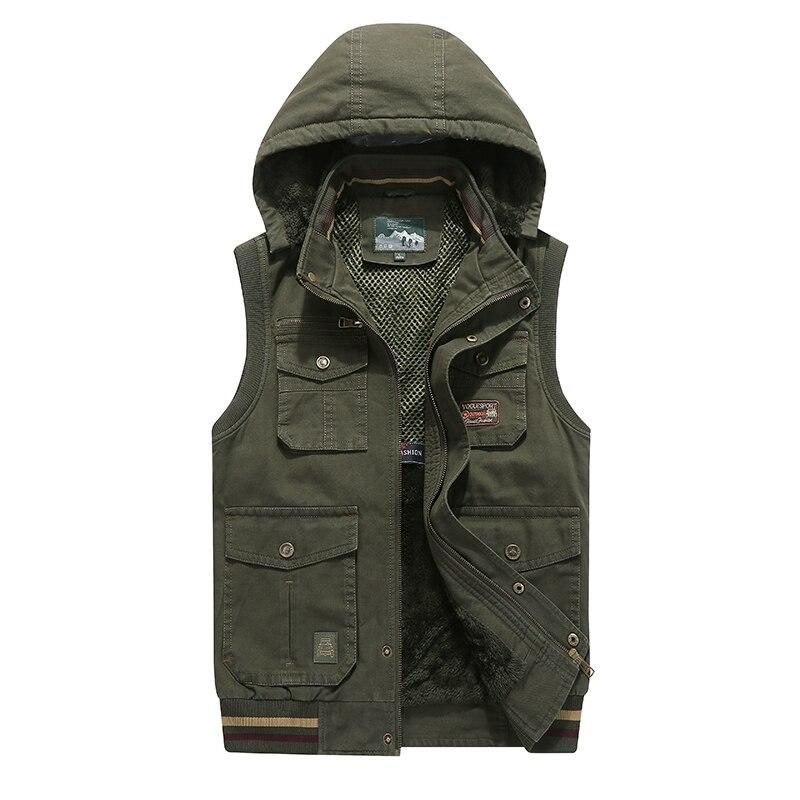 8XL 9XL AFS JEEP marca invierno hombres abrigo bolsillo cálido sin mangas chaqueta Casual hombres chaleco abrigo polar ejército verde chaleco con capucha