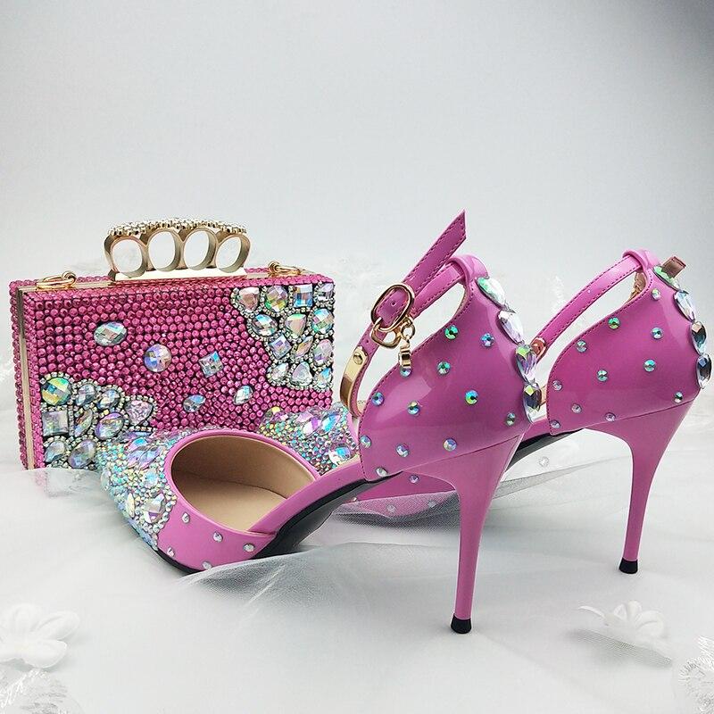 Baoyafang cor-de-rosa das mulheres sandálias de verão apontou toe tornozelo cinta cristal sapatos de casamento noiva salto fino vestido de festa sapato