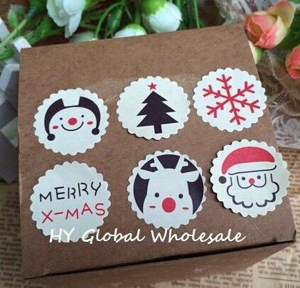Autocollant de scellage thème joyeux noël, étiquette autocollante cadeau pour emballage décoratif pâtisserie, multifonction, 120 pièces/lot