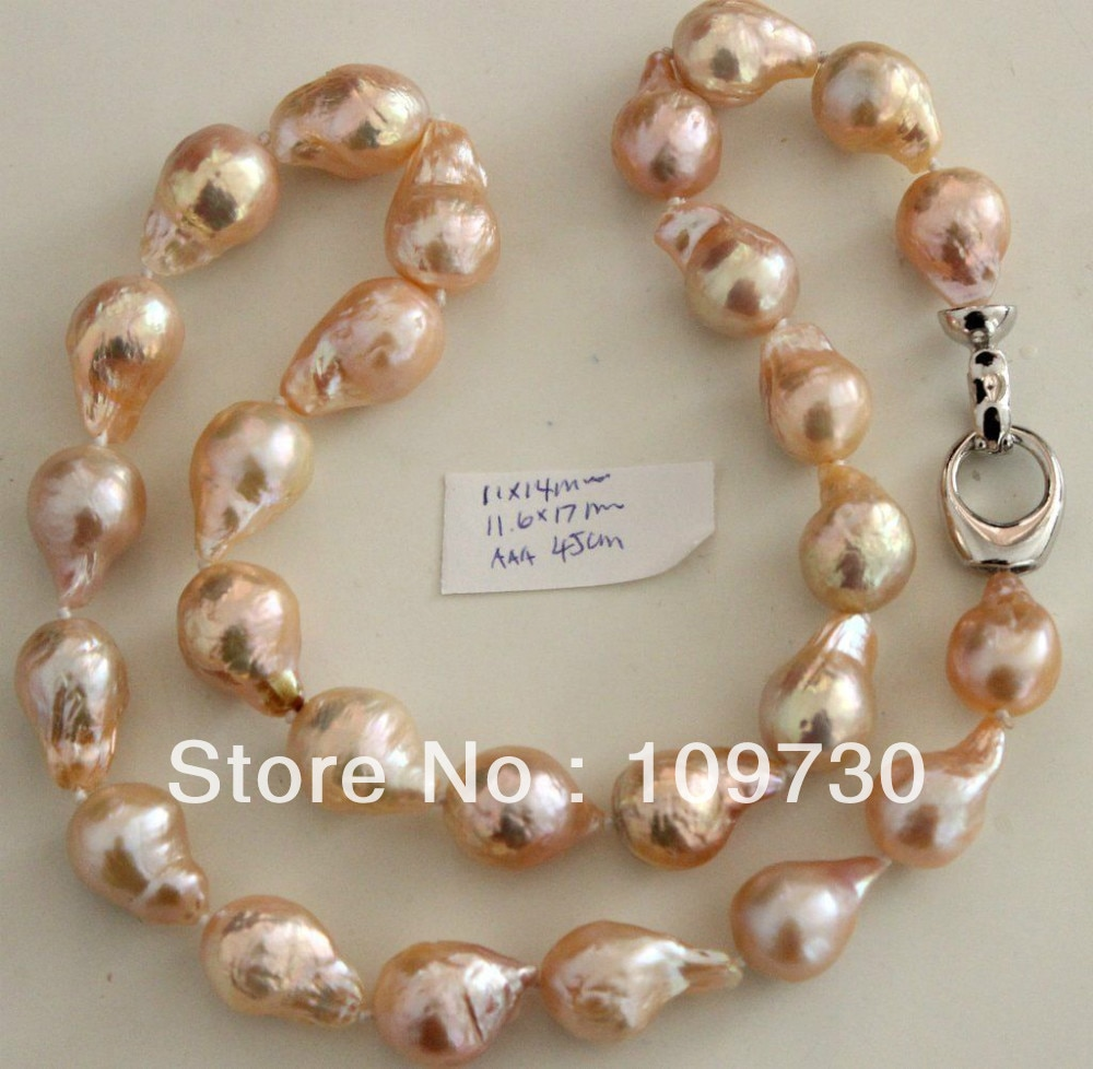 Joyería 001970 17MM japonesa hermosa perla Kasumi collar 46CM 5,4