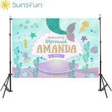 Sunsfun 7x5ft Виниловый фон на заказ для фотостудии фон для фотосъемки под морем маленькая Русалочка в виде ракушки Newbron фото фон