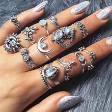 14 pièces/ensemble femmes Vintage cristal lune fleur feuilles goutte deau Tarot irrégulier Joint bague Punk charme argent couleur bague ensemble