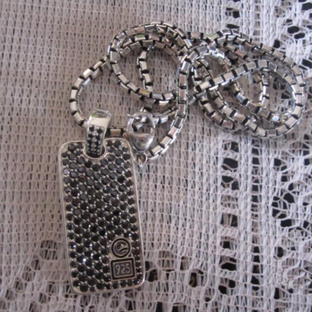 الصلبة فضة مجوهرات شيفرون الأسود الماس الكلب علامة قلادة تصميم مجوهرات الرجال قلادة Neklace هدايا عيد الأب
