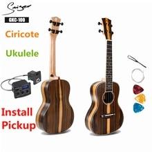 Ukulélé 23 pouces Ciricote Mini électrique Concert acoustique voyage guitare 4 cordes Ukelele Guitarra installer pick-up rétro mat
