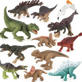 Jurassic Dinosaurs Toy Action Figures Mini Tyrannosaurus Pterosaur Carnotaurus Model Plastic Animal Collection Toy For Children