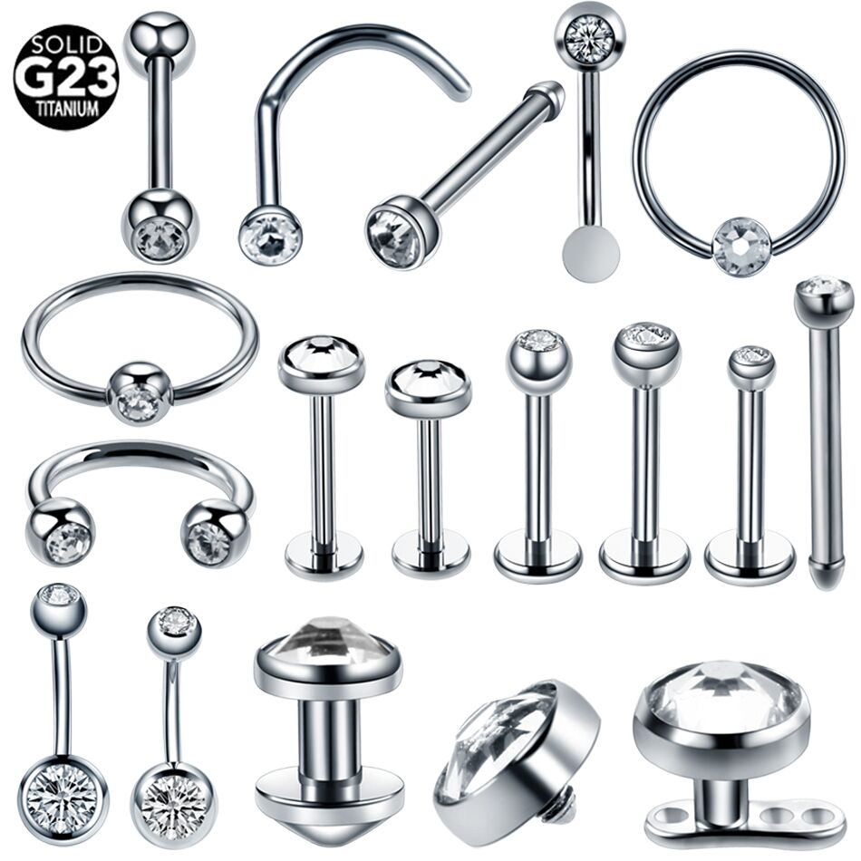 1 st Titanium Micro Dermal Anchor Crystal Gem Horseshoe Labret Tragus Buik CBR Nariz Stud Piercing Oor Septum Helix Ring sieraden