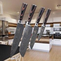 4 pcs Veias Damasco Facas De Cozinha Em Aço Inoxidável Facas Santoku Cor Madeira Handle Aparas Utility Chef De Cozinha Faca de Corte