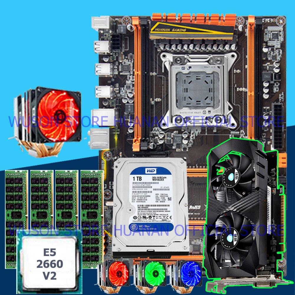 Placa madre X79 de Huanan Zhi de lujo hecha a medida por ordenador con CPU M.2 E5 2660 V2 con refrigerador RAM 16G (4*4G) 1TB SATA HDD GTX1050Ti