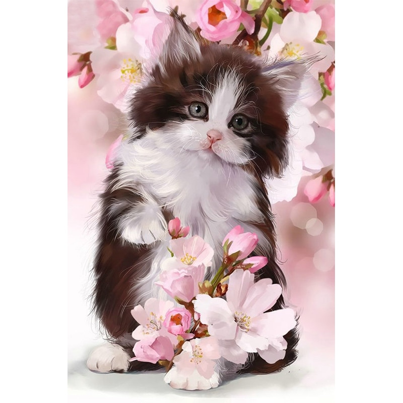 Pintura diamante yikie pequeño gato leche, pintura diamand complet, pintura diamante cuadrado K329