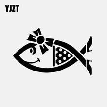 YJZT 16,1 CM * 9,7 CM vinilo coche etiqueta pescado linda chica cristiana Auto adhesivo para camión ventana negro/plata C24-1030