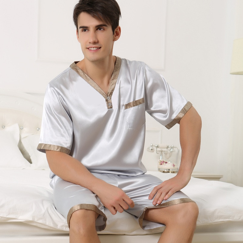 Сексуальный искусственный шелк мужские пижамы мода V-образный вырез лед шелк одежда для сна мужские с коротким рукавом пижама шорты комплекты из двух частей плюс 4XL 2509