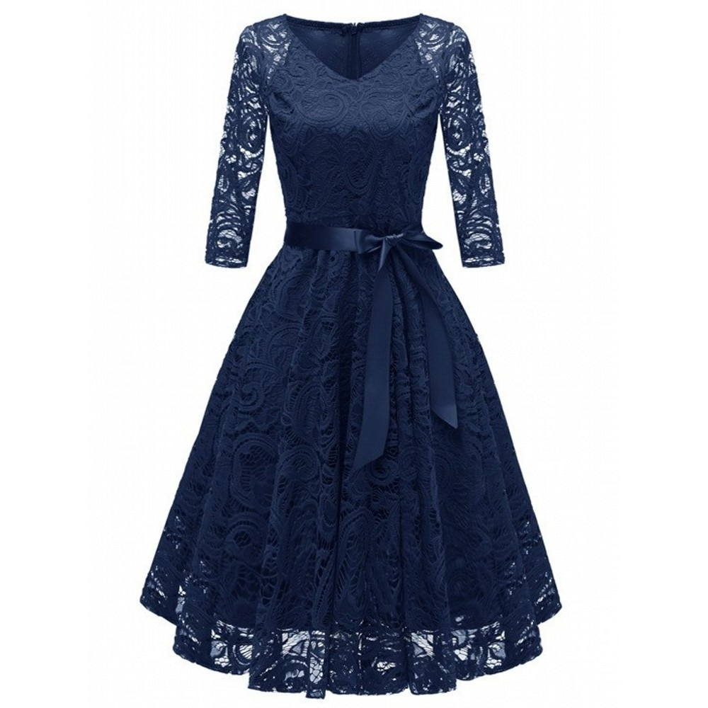 Women Evening Party Retro Gothic Navy Blue Green Hollow Out Floral Lace Dress Bow Ribbon Belt Spring Summer Work Dresses