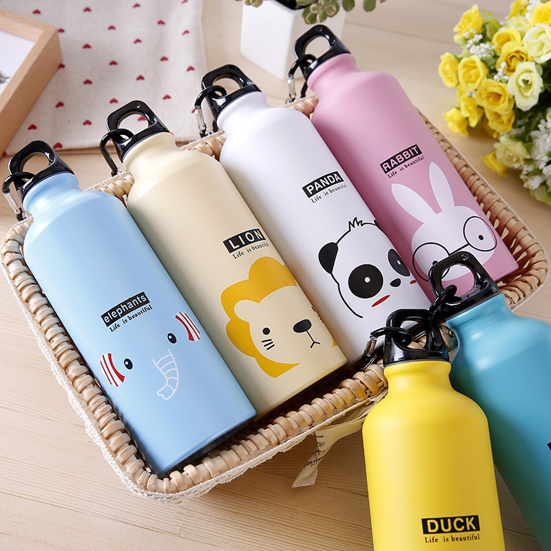 Portable Modern Design Water Bottles 500ml Lovely Animals Outdoor Sports Cycling Camping Hiking Bicy
