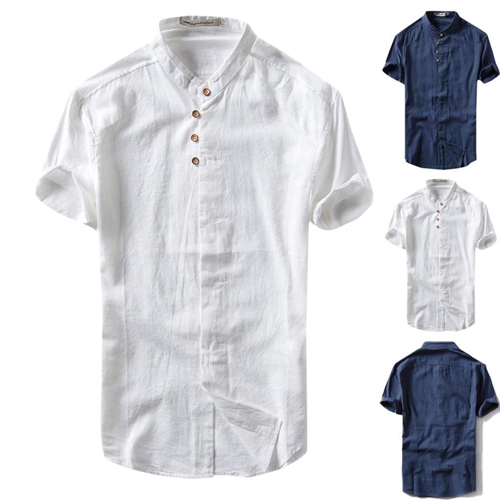 2019 Summer Mens Causal Shirt Short Sleeve Top Button Linen Solid Color Loose Blouse S-2XL hawaiian shirt camisa masculina