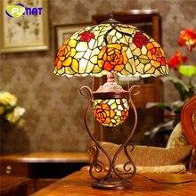 FUMAT vitrail lampe de Table Art verre Rose abat-jour ovale lampe de Table salon européen créatif lampe de chevet LED lampes de Table