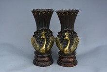 Vase en laiton de la dynastie Qing   rare, paon, paire