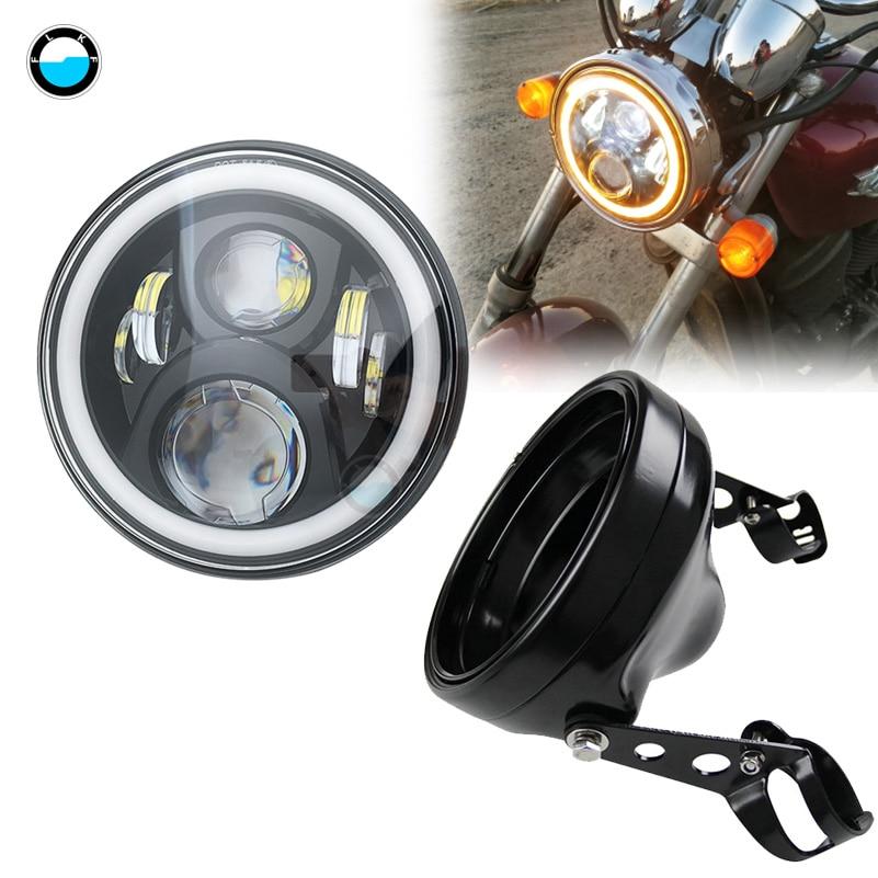 1 комплект, 7 дюймов, 80 Вт, точечная фара SAE E9 для мотоцикла 883, налобный фонарь с 7-дюймовым светодиодным креплением для мотоцикла