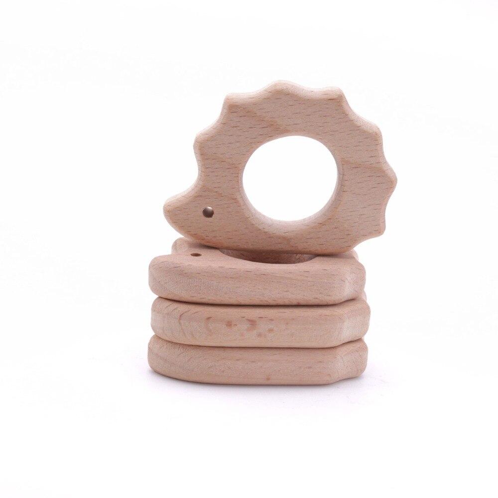 10 Uds. DIY pulsera colgante accesorios para mamás amuletos de madera de calidad alimentaria erizo de madera BPA inspirado gratis mordedores de juguete para bebés