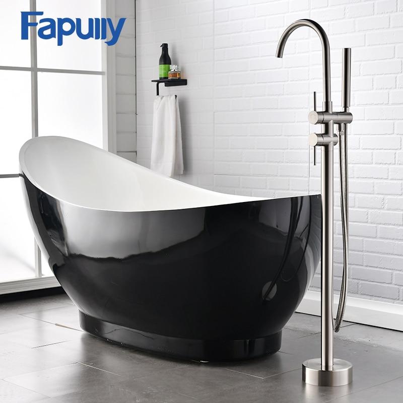 Fapully-خلاط دش قائم بذاته من النيكل ، صنبور حمام مع صنبور رش يدوي ، لحوض الاستحمام