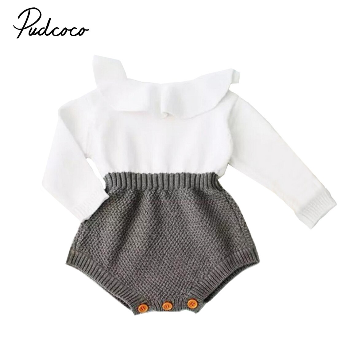 Pudcoco bebé recién nacido niña mezcla de lana bebé mono suéter de punto caliente manga larga mamelucos otoño