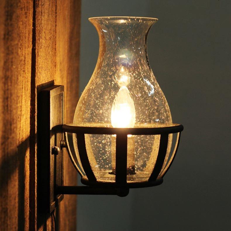 Fashion decoration antique Wall lights Glass Vase Shape vintage lantern kerosene castle wall lamp Candle Light