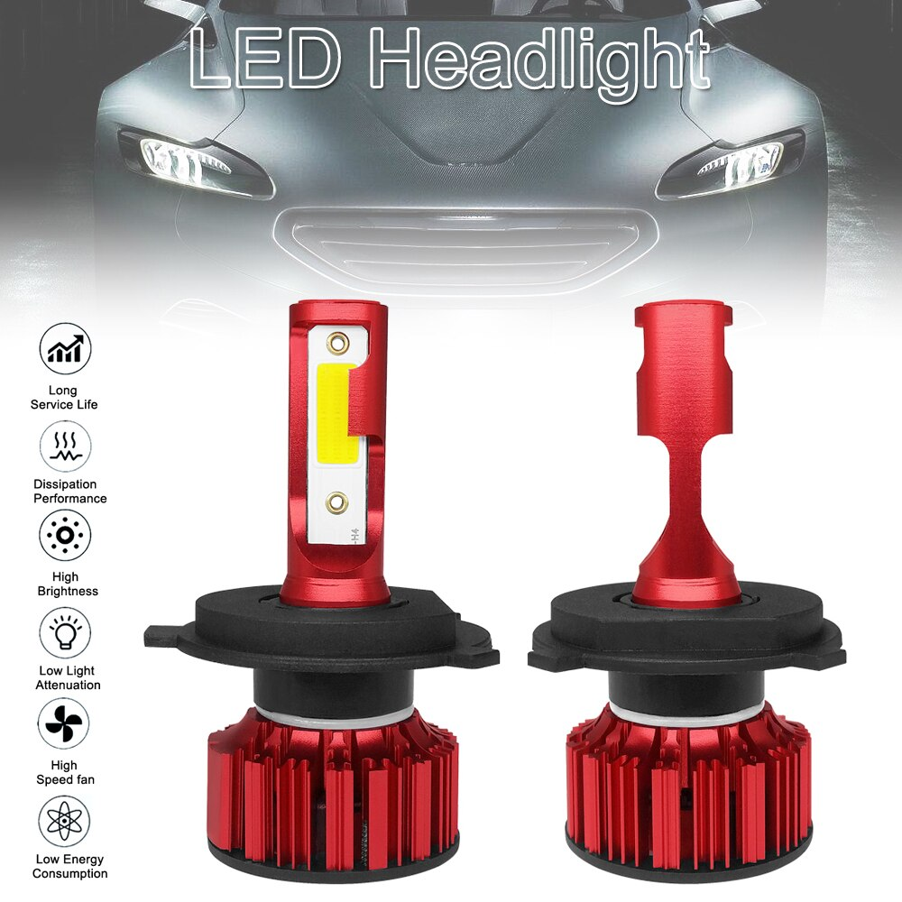 2 uds Q1 LED faro H4 9003 HB2 Q1 12000LM 6000K 120W COB LED faro de coche Kit Hi Lo bombilla accesorios de coche para coches