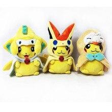3 pièces/ensemble jouets en peluche Pikachu Cosplay Jirachi Victini ensemble coton animaux en peluche poupées enfants jouets enfants cadeaux de noël