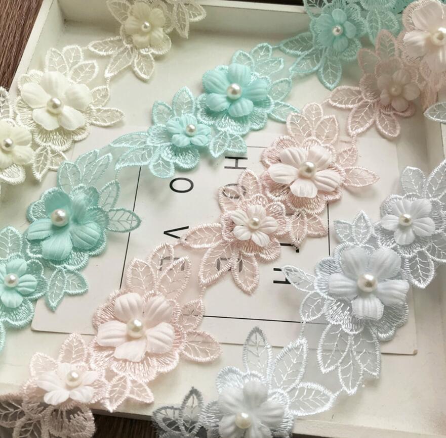 2 yardas Organza perla cuentas 3D flor Chiffion encaje tela cinta para ropa costura vestido de boda DIY muñeca Cap clip de pelo