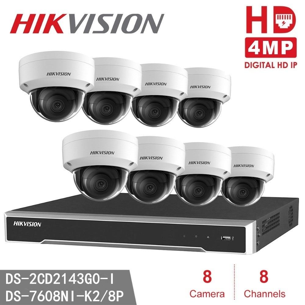 Hikvision DS-2CD2143G0-I 4MP ip-камера + Hikvision 8MP разрешение Запись NVR DS-7608NI-K2/8p видеорегистратор