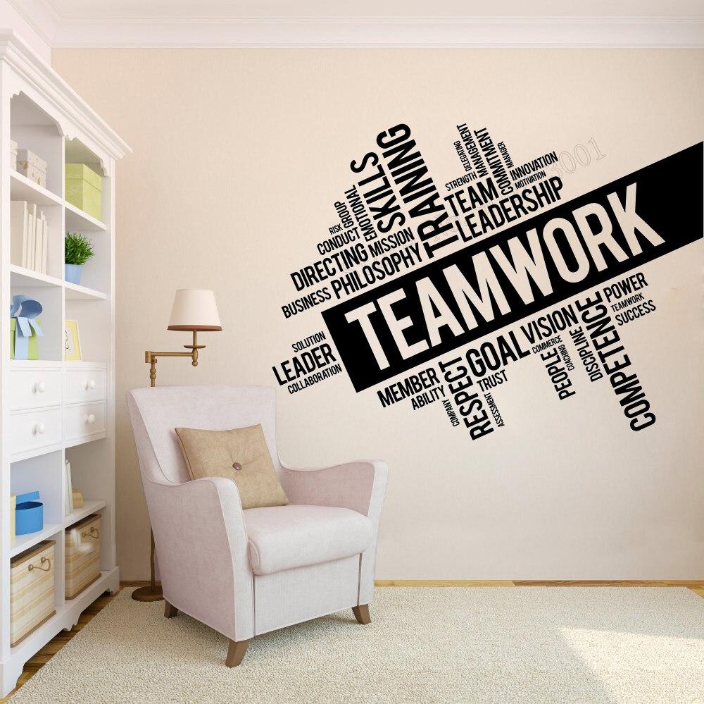 Adhesivo artístico de pared para equipo de trabajo, decoración de pared, palabras inspiradoras de oficina, póster, vinilo removible, arte, Mural, decoración del equipo espacial LY83