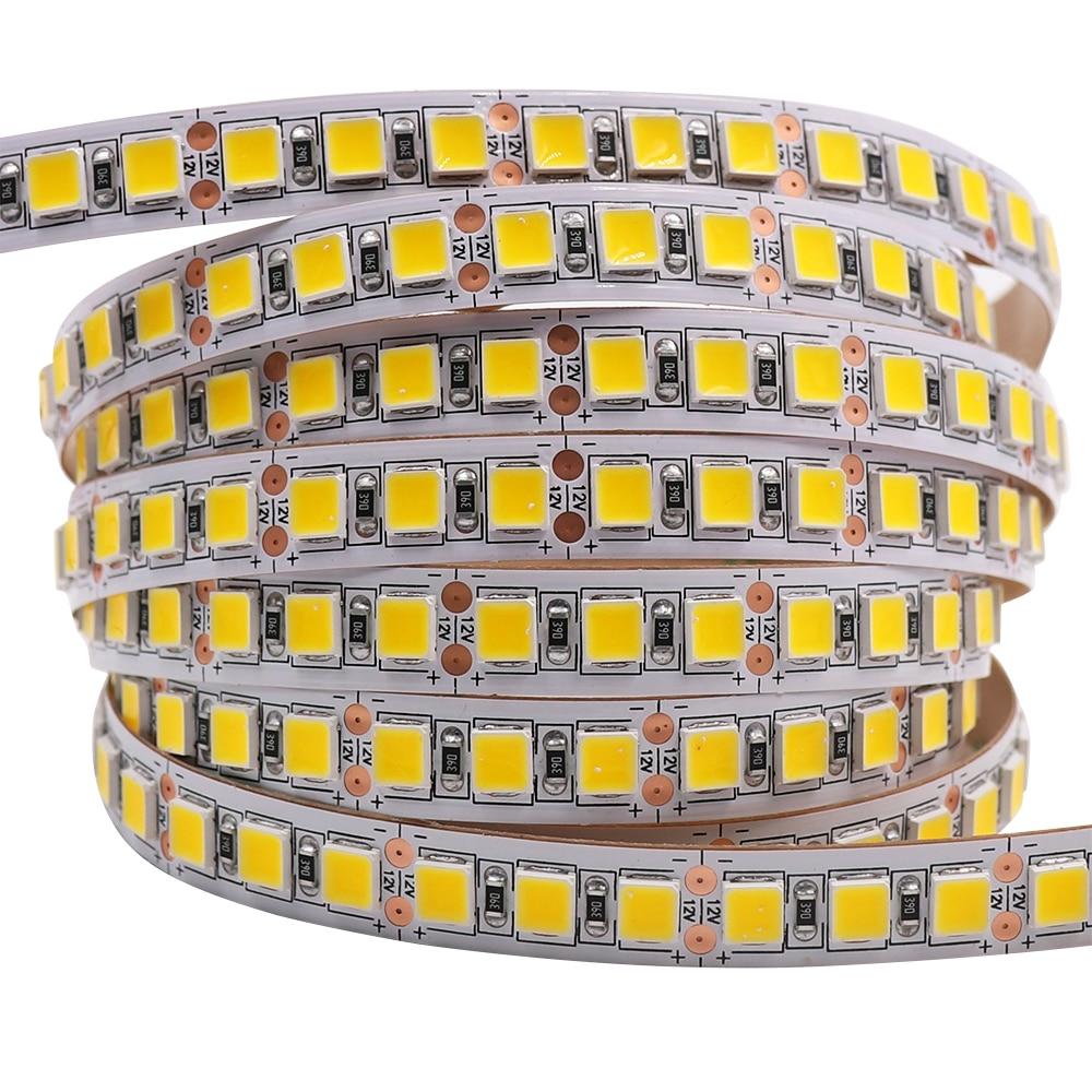 Светодиодная лента, 5 м, 5054 5050 SMD 120 светодиодный 60 светодиодный 240 светодиодный 2835 5630 12 В постоянного тока, водонепроницаемый гибкий светодио...