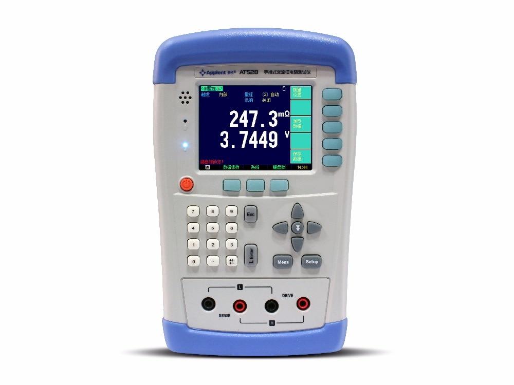 Medidor de CA miliohmios de mano AT528L resistencia de CA, voltaje DC 0,1 m ohm a 200 ohm para batería de plomo grande y medio