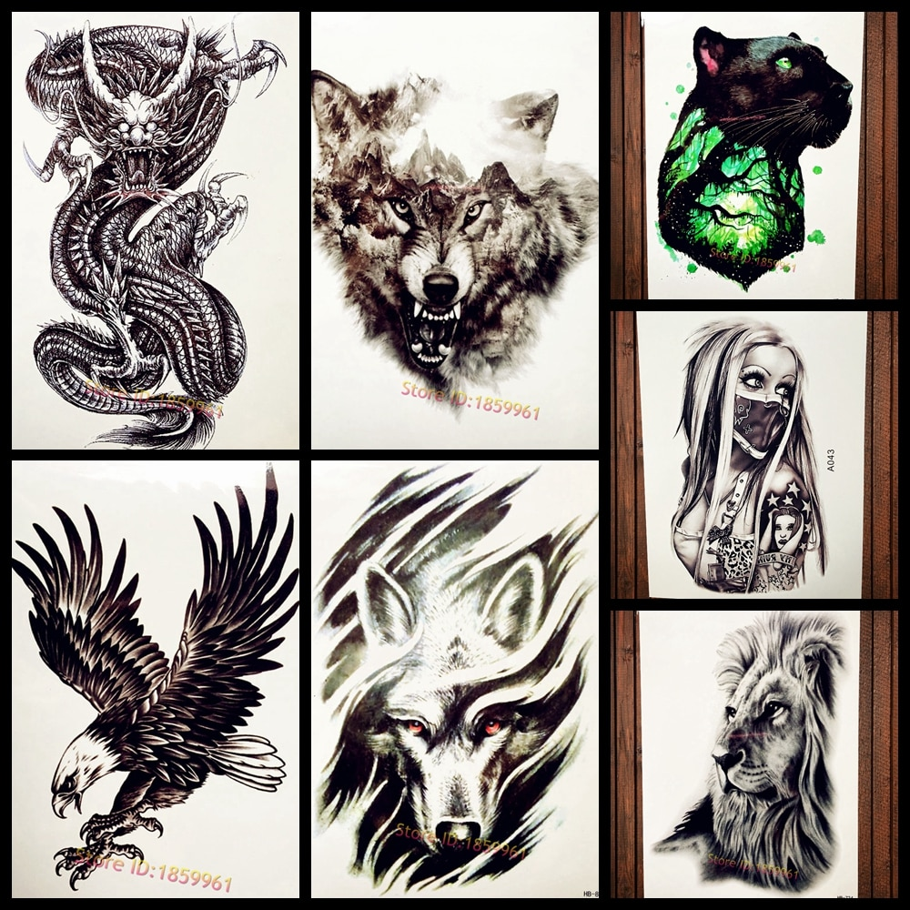 Chinese Myth Black Dragon Ball Temporary Tattoo Sticker Men Body Art Arm Sleeve Tattoo, Waterproof Fake Flash Tatoo Harajuku