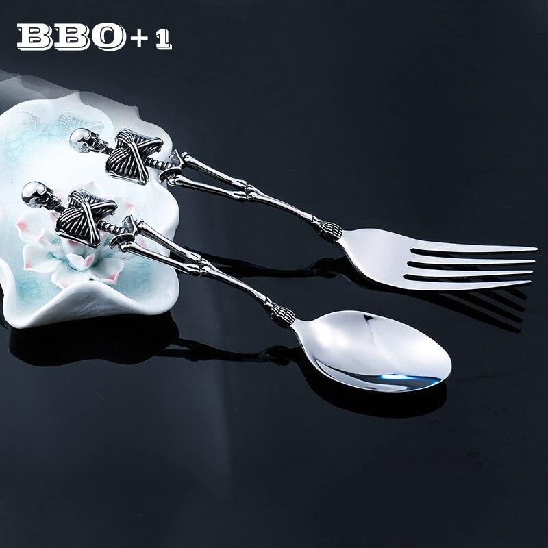 Набор посуды для Хэллоуина, столовые приборы с черепом, нержавеющая сталь, скелет, столовая вилка, ложка, вечерние наборы посуды с черепом, с...