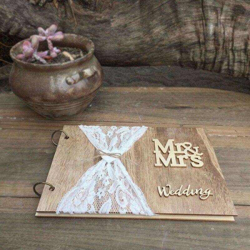 Livre dor en bois pour mariage   Bricolage, 10 Pages, personnalisé, livre Photo, Signature, décoration en dentelle, fournitures de mariage