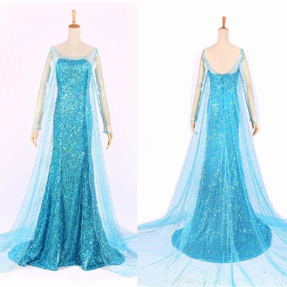 Adult WomenPrincess Cocktail Party Dress Costume Dresses Blue Bling Snow Cosplay Dress