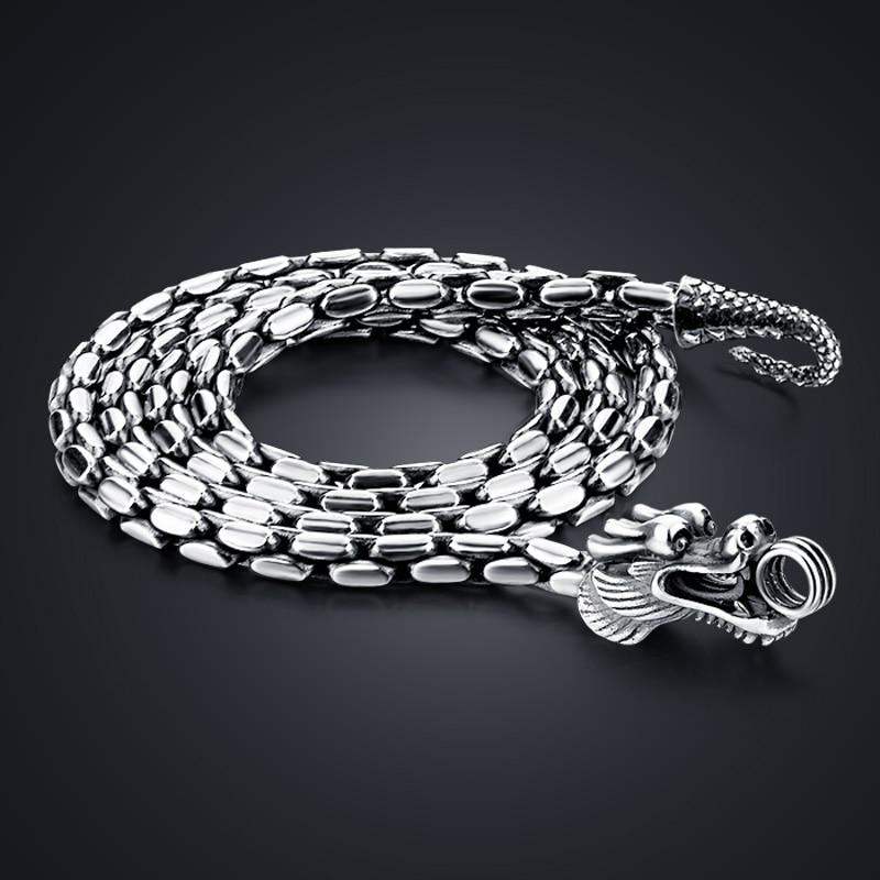 Модное ожерелье из 100% стерлингового серебра 925 пробы, мужское винтажное тайское серебро 5 мм 24 дюйма, ожерелье дракона, мужское панк, ювелирн...