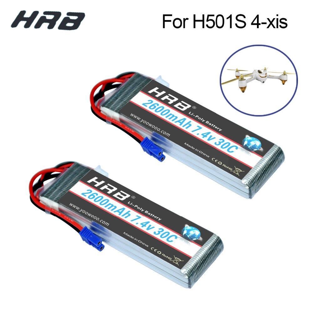 2PCS HRB Lipo 2s 7,4 V Hubsan H501S 4-xis Batterie 2600mah 30C Max 60C EC2 stecker batteria für Drone Quadcopter Hubschrauber Flugzeug