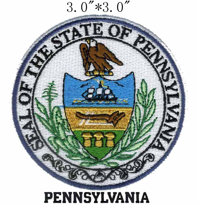 "Pennsylvania State Seal 3 ""brede borduurwerk patch voor crest/bergen/bladeren"