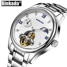 Squelette Toubillon montres automatiques hommes décontracté lune Phasse hommes BINKADA nouvelles montres mécaniques pour hommes