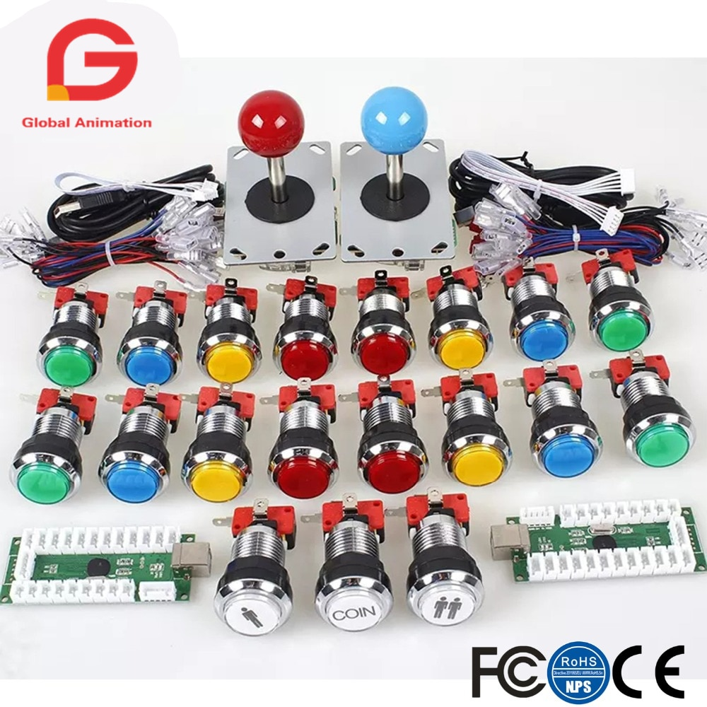 Arcade DIY Kit USB Encoder to Joystick + Chrome Plating LED Illuminated Push Button 1&2 Player Coin For Mame Raspberry pi