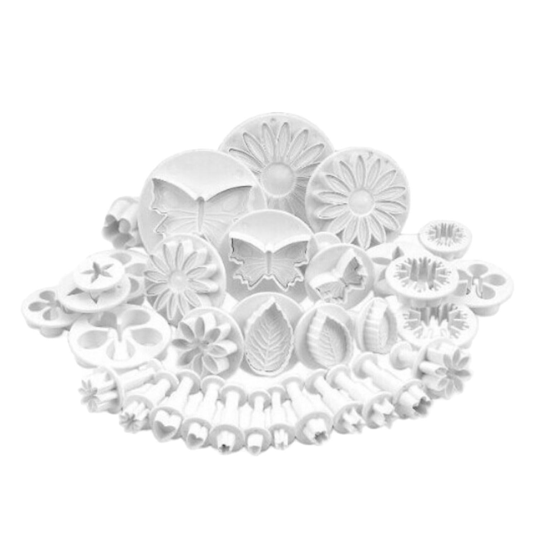 Behokic 33pcs Plunger Fondant Cutter Cake Tools Cookie Biscuit Mold Mould Craft DIY 3D Sugarcraft Decorating Tools Flower Set