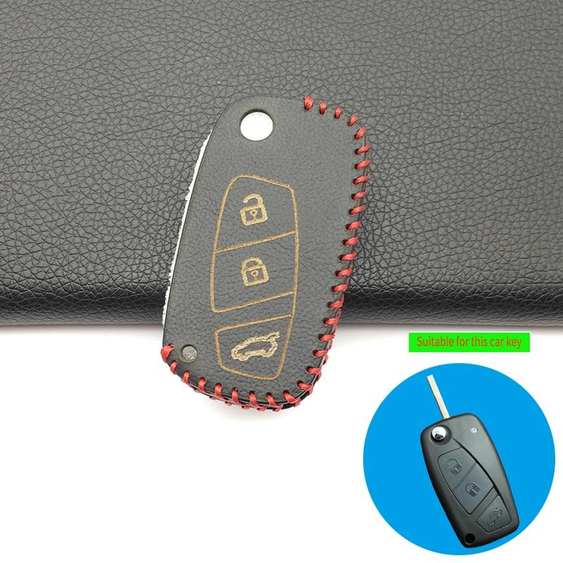 For Fiat Panda Stylus Dot Doblo Great Bravo 500 Ducato Minibus 100% Leather Car Key Case Cover Skin 3 Buttons Remote Flip Key