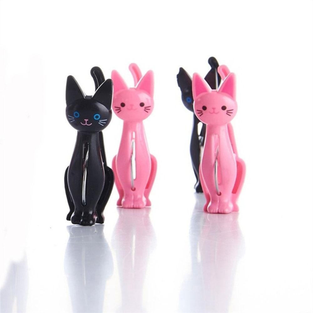 4Pcs Kreative Katzen Kunststoff Kleidung Pegs Wäscheklammern Nette Strand Handtuch Clips Bett Blatt Handdoek Socken Winddicht Wäsche Pins