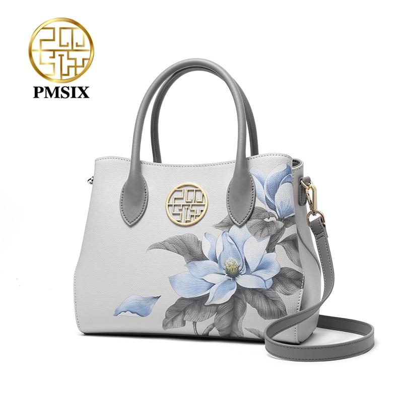PMSIX موضة زهرة الطباعة جلد البقر المرأة حقيبة يد عالية السعة السيدات حقيبة كتف العلامة التجارية أنيقة الإناث حقائب اليد 2021