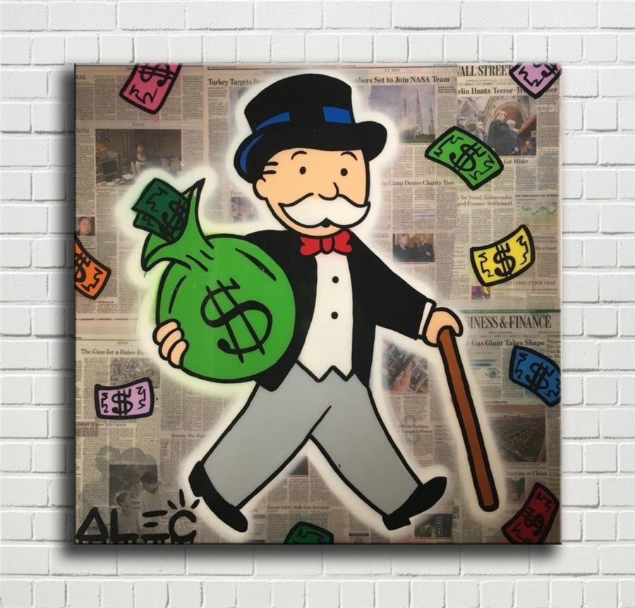 Cartel de lienzo de pared de alta definición con sonrisa en efectivo de Otto Monopolys, pintura decorativa de lienzo impresa para decoración de oficina, sala de estar, hogar