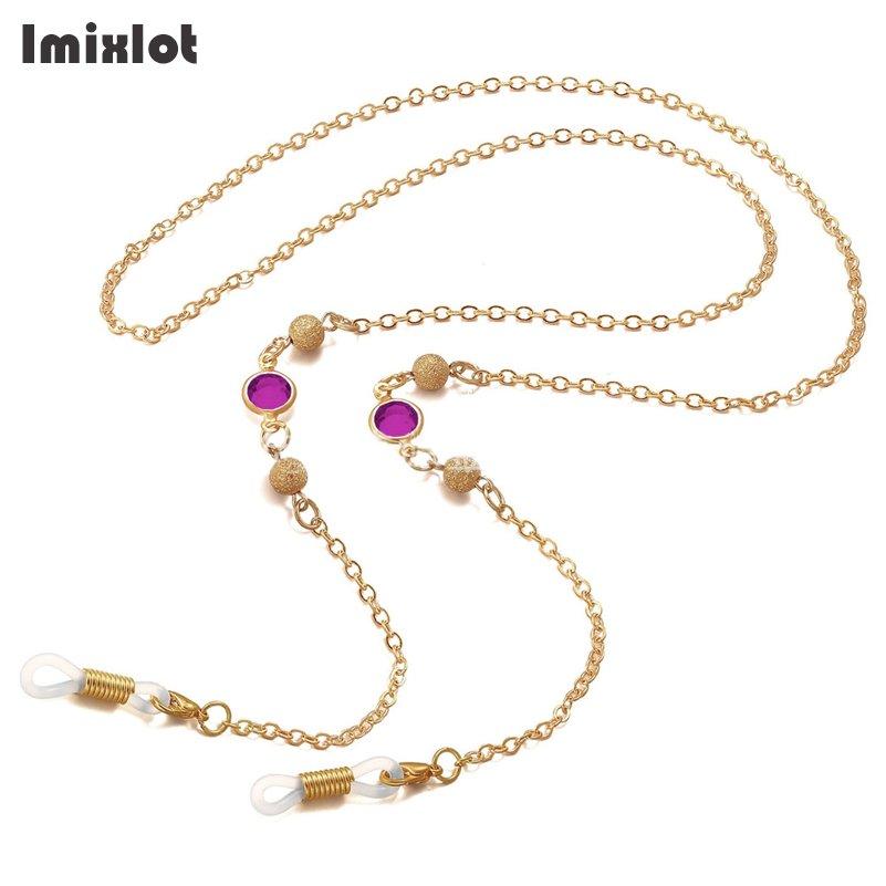 Imixlot акриловый Шарм с бусинами из камня Золотая медная цепочка для очков Очки для чтения металлические шнурки солнцезащитные очки держатели для очков