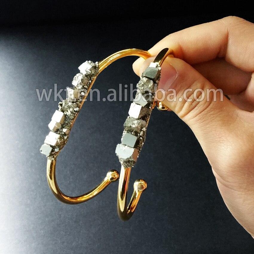 WT-B204, venta al por mayor, joyería de moda, brazaletes de pirita natural, pulsera de pirita en bruto con tira de oro de 24k