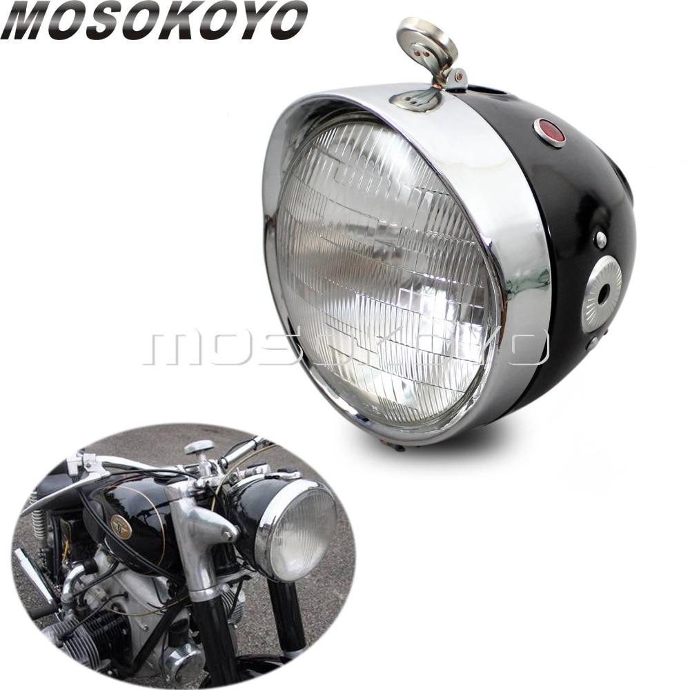 Personalizado cafe racer motocicleta farol da frente lâmpada para zundapp bmw k750 ks750 m72 r12 r75 r51 r6 bw40 dnepr sidecar ural
