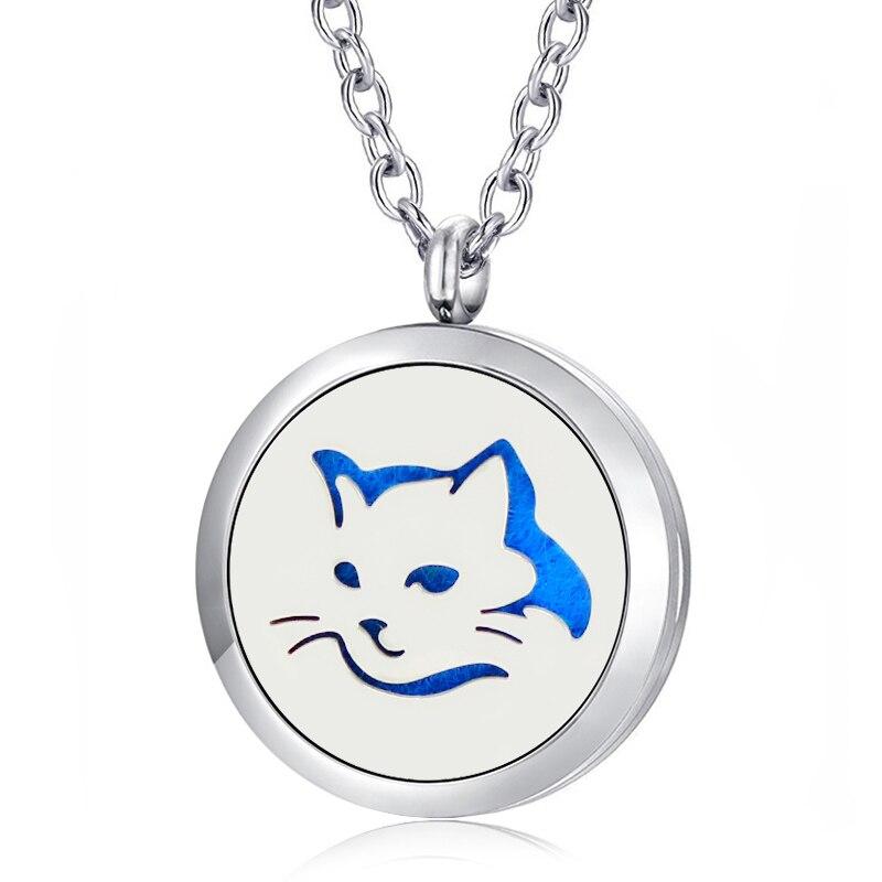 ¡Gratis almohadillas de fieltro y cadena! Colgante de medallón de gato de 30mm, colgante de difusor de aceite esencial de aromaterapia de acero inoxidable 316L